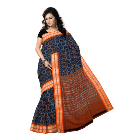 OSS7418: Traditional Ikat design Blue Handwoven cotton sarees