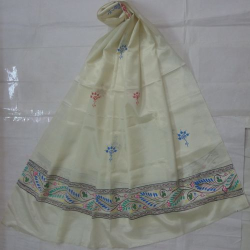 OSS300079: Off White Hand painted Patachitra Dupatta Online shopping.