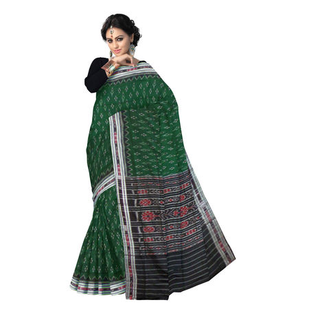 OSS9093: Green with Black ikkat design handloom Cotton Saree.