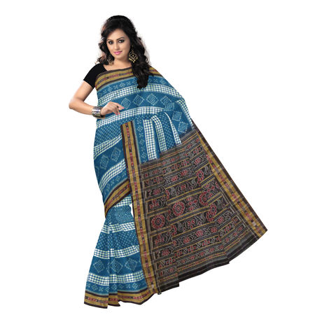 OSS9106: Sea Green with Black handloom sambalpuri Cotton Saree.