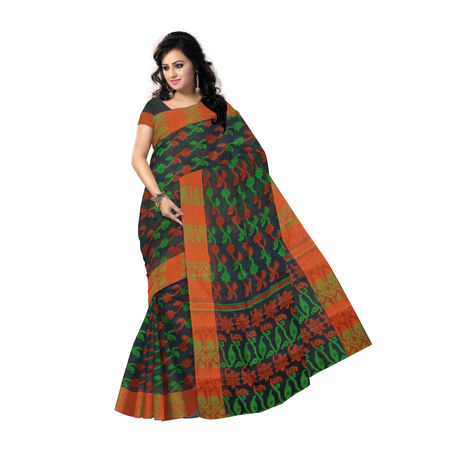 OSSWB9046: Exclusive Indian Designer Black Green Handloom Dhakai Jamdani cotton Sari.