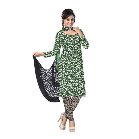 OSSWB122: Deep green and black color batik print cotton salwar kameez