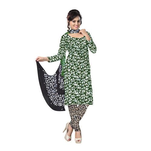 OSSWB122: Deep green and black color batik print cotton salwar kameez