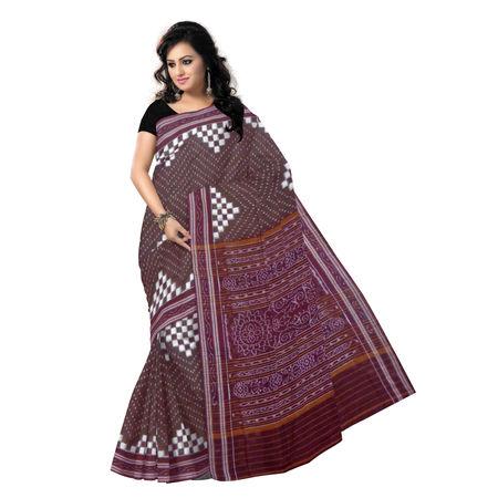 OSS433: Coffee with white Sambalpuri pasapalli design handloom cotton saree