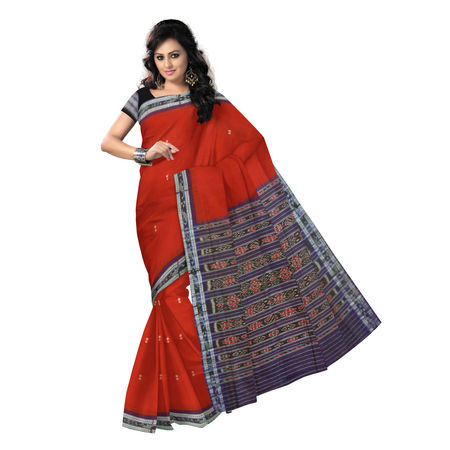OSS9108: Maroon Sambalpuri Handloom Mercerized Tie & Dye cotton Saree