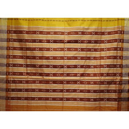 Light Brown With Light Maroon Handloom Body Bandha Cotton Saree Of Sambalpur Odisha AJ001501