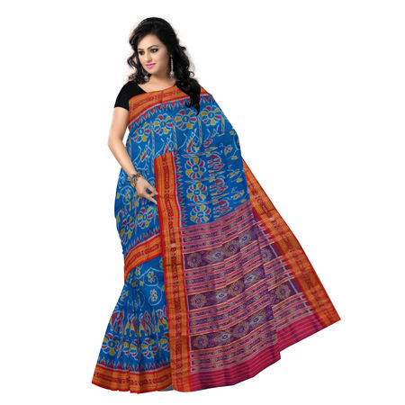 OSS5169: Sky Blue with Red Handwoven Sambalpuri Silk Saree.
