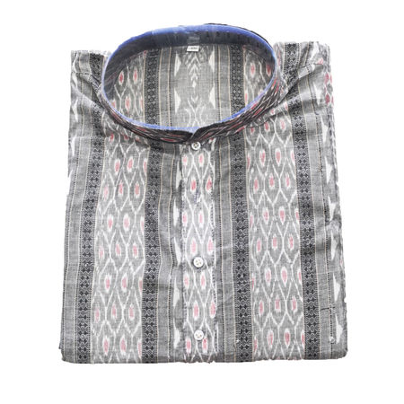 Grey With Multi Sambalpuri Handloom cotton Kurta for Men made in Odisha Sambalpur AJ001778