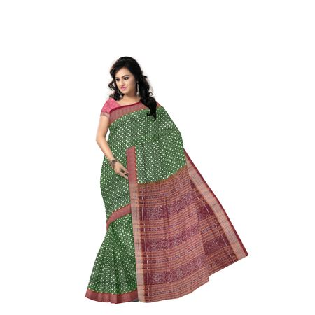 Green with Maroon Handloom Bomkai Cotton saree with Blousepiece AJ001213