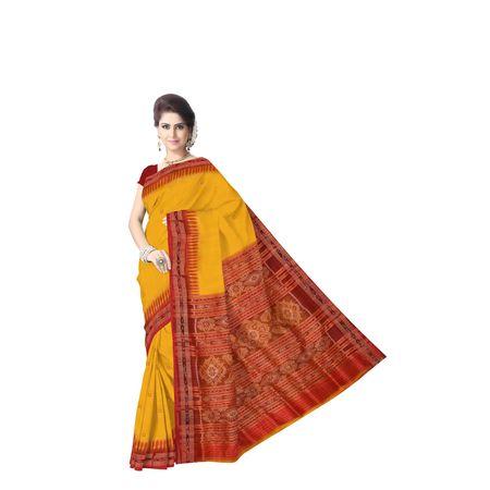 Yellow With Red Handloom Khandua Silk Saree Of Odisha Nuapatna AJ001391