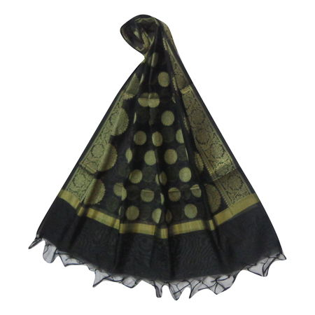 OSSUP152: Banarashee Cotton Silk Antique Gold Zari Butti Dupatta.