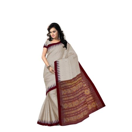 Tusser color with Maroon Handloom Bapta Cotton saree with Blousepiece of Odisha AJ001374