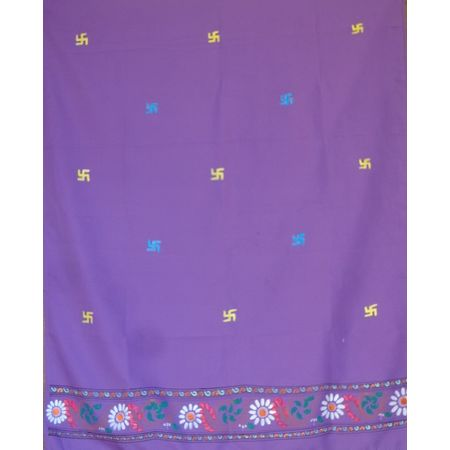 OSS30007: Violet color Handpainted Georgette Dupatta made by kalamkari artist