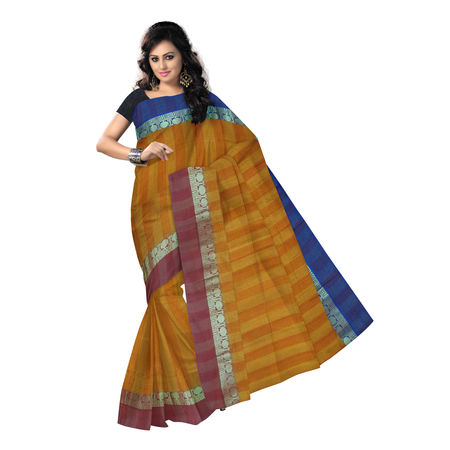 OSSWB9015: Yellow handwoven west Bengal Cotton saree.