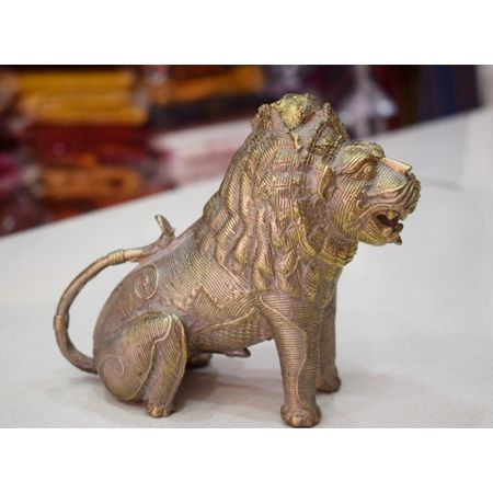 OHD032: Dhokra Lion handmade by famous artist of dhenkanal