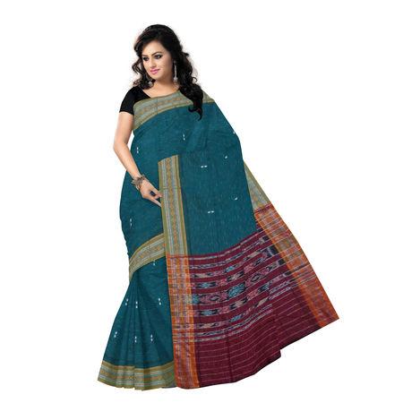OSS9113: Green Jharana Buti design Sambalpuri Cotton Saree