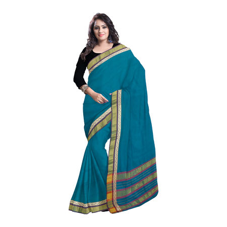 OSSTG005: Narayanpet Deep Green Handwoven Cotton saree of Telangana.