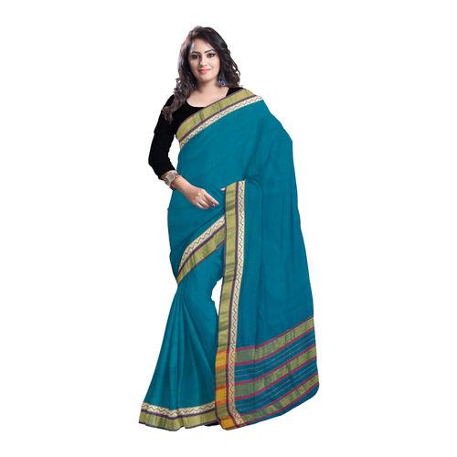 OSSTG005: Narayanpet Deep Green Handwoven Cotton saree of Telangana.