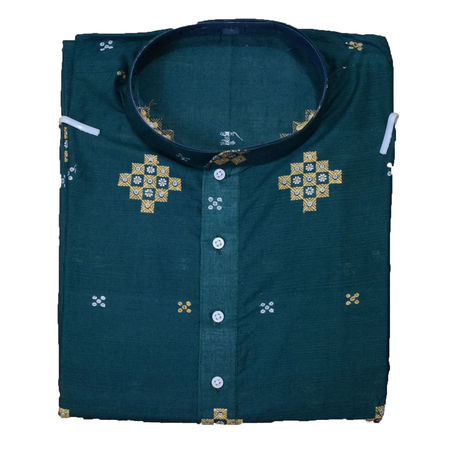 Handloom Sambalpuri Pasapalli Cotton Kurta in Green AJ001200 (Size-42)