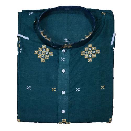 Handloom Sambalpuri Pasapalli Cotton Kurta in Green AJ001200 (Size-42)