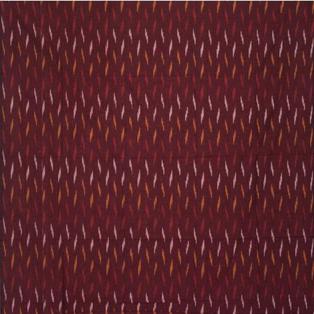 Maroon With White Handloom Ponchampally Ladies Cotton Dress Material AJ001328