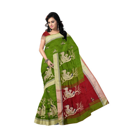 OSSWB9001: Green handwoven Baha design Silk saree for Party wear