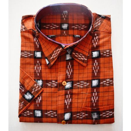 Handloom Sambalpuri Cotton Half Shirt in Deep Brown AJ001190