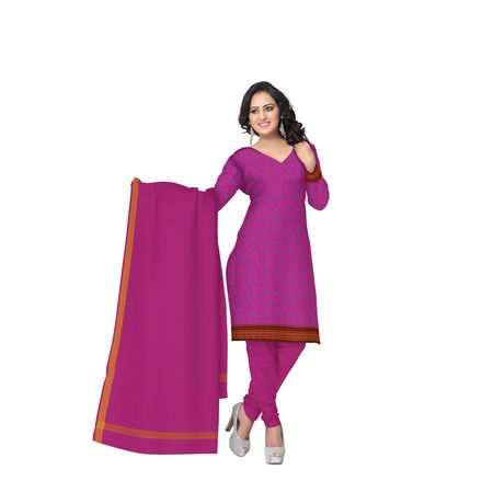 Pink Printed Handloom Cotton Dress Material of Telangana AJ001538