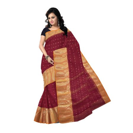 OSSWB082: Maroon plain cotton sarees with wide Golden Border online