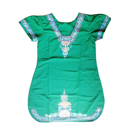 OSS300022: Green color handpainted Ladies kurti made by patachitra artists