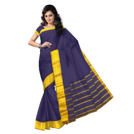 OSSTG009: Deep navy Blue handwoven kanchi Cotton Saree