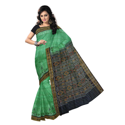 OSS280: Beautiful Green with Black Handwoven Traditional silk saree of Odisha