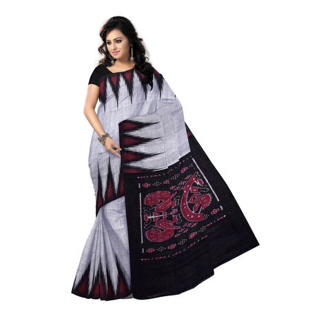 OSS7537: Grey with Black handwoven cotton saree.