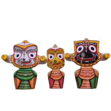 OHW023: Lord Jagannath Balabhadra Subhadra Neem Wooden Idol 6 Inch Height