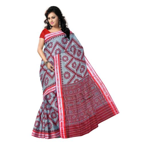 OSS9061: Light Grey with Maroon Handwoven cotton sarees.