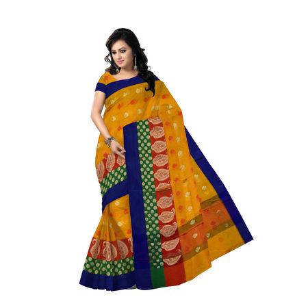 OSSUP110: Yellow Net Banarasee Cotton Silk Saree.