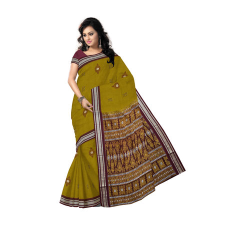 Olive with Maroon Handloom Bomkai Design cotton saree Of Odisha AJ000120