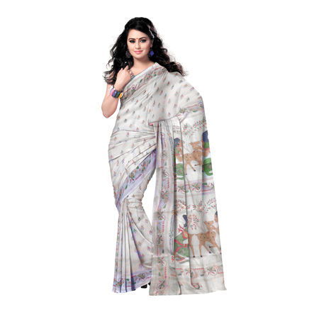 OSSWB9003: Handwoven Tusser Silk Saree with embroidery design's