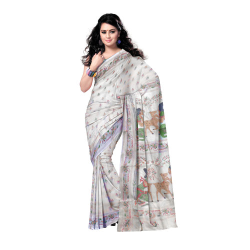 OSSWB9003: Handwoven Tusser Silk Saree with embroidery design s
