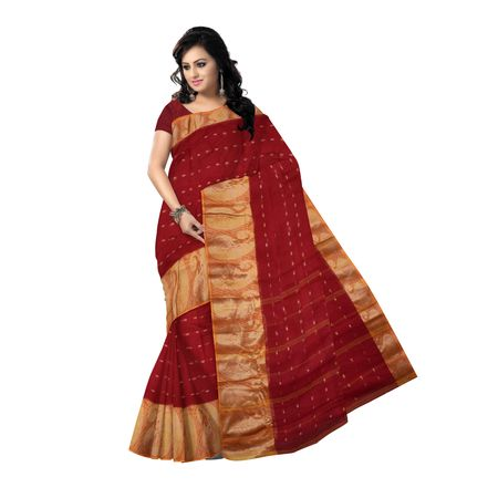 OSSWB051: Beautiful Red with Golden colour handmade cotton saree