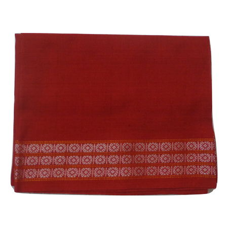 OSS3594: Red color handloom cotton blouse piece.