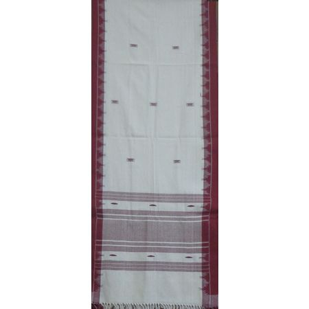 OSS301: White colour traditional Kotpad Stole with temple border
