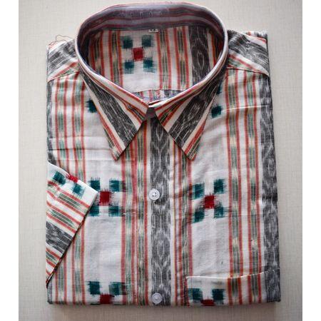Handloom Pasapalli Sambalpuri Cotton Half Shirt in White with Green AJ001191 (Size-44)