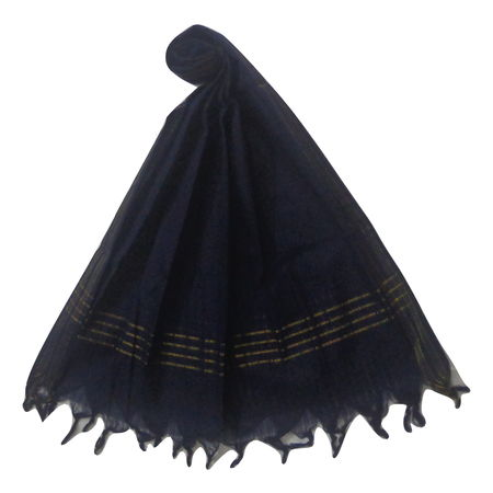OSSTG017: Handwoven Navy Blue cotton Dupatta