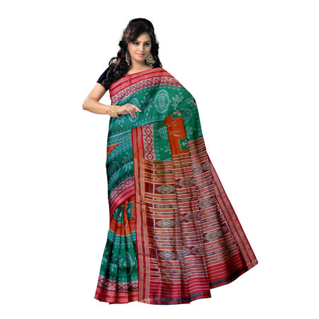 OSS5138: Rangoli or Jhoti design Green Handloom sambalpuri Silk saree of odisha.