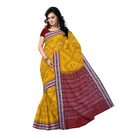 OSS6181: Traditional Deep Yellow handloom Tarabali design cotton sarees