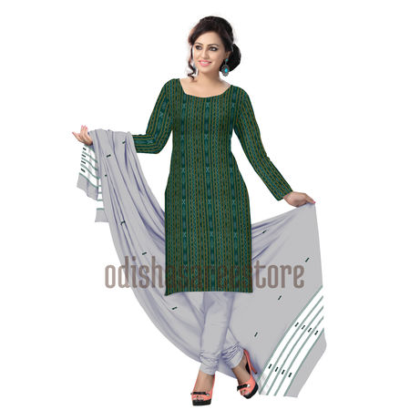 Green with White Khandua Ikat Dress for Women in India Online AJ000509