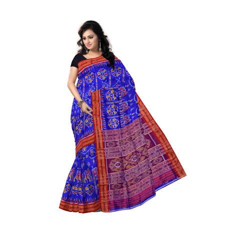 OSS009: Ink Blue Silk Saree with Animal and Flower design