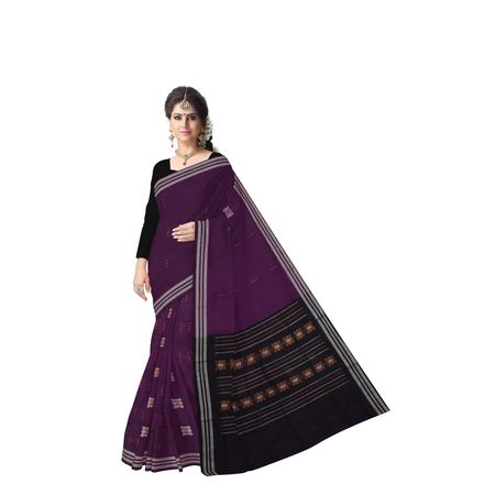 Purple with Black Rayagadi Padam Cotton saree Of Odisha AJ001430