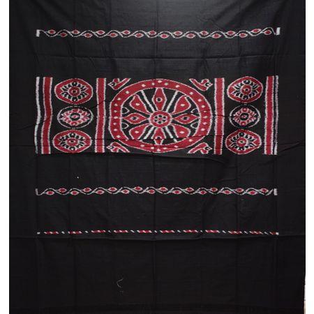 Check Design Forest Green With Black Handloom Cotton Saree of Odisha, Nuapatana AJ001560